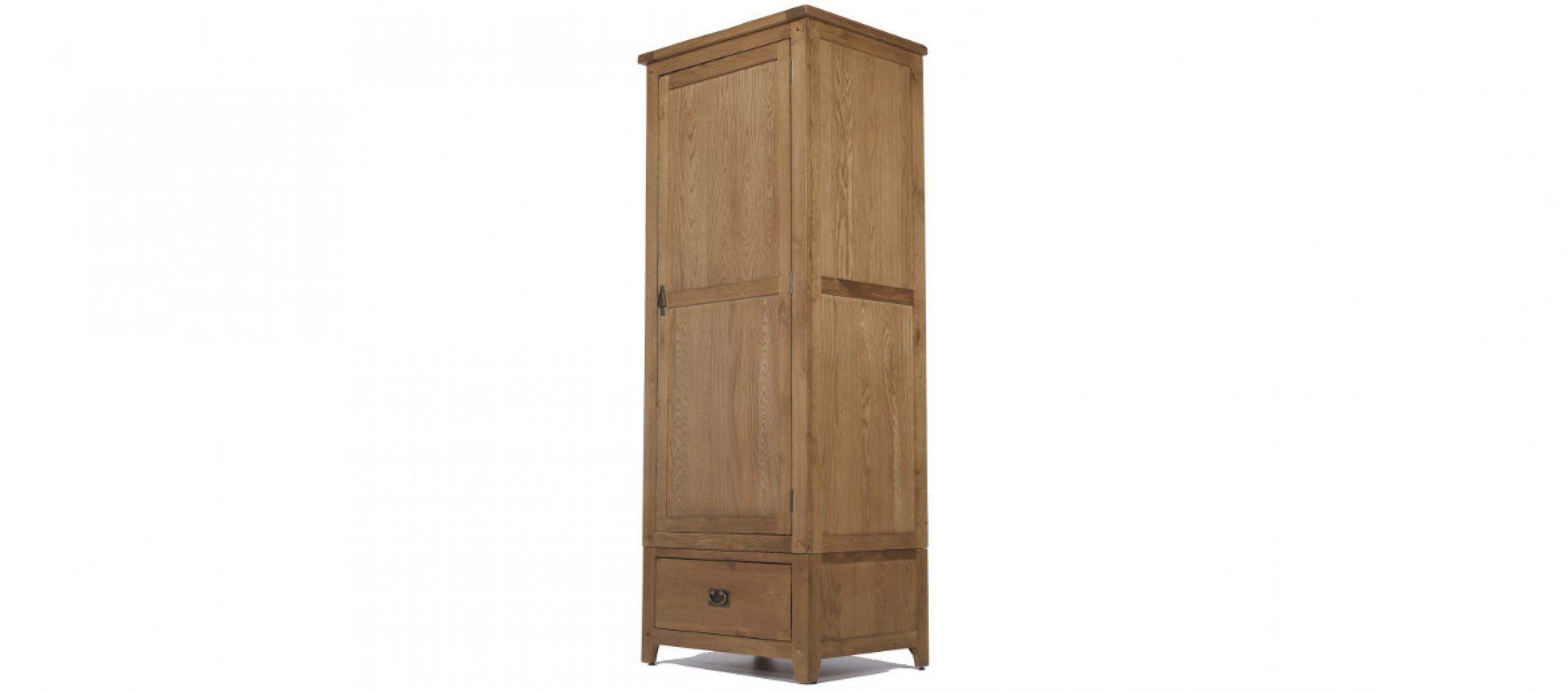 Single rustic oak wardrobe