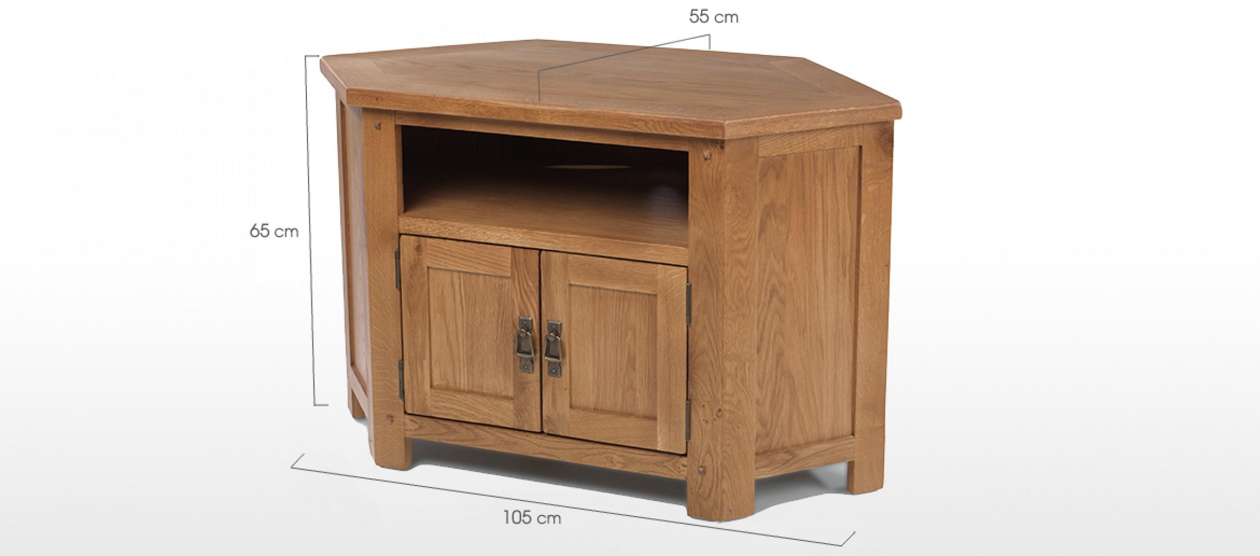 Rustic oak corner tv cabinet quercus living