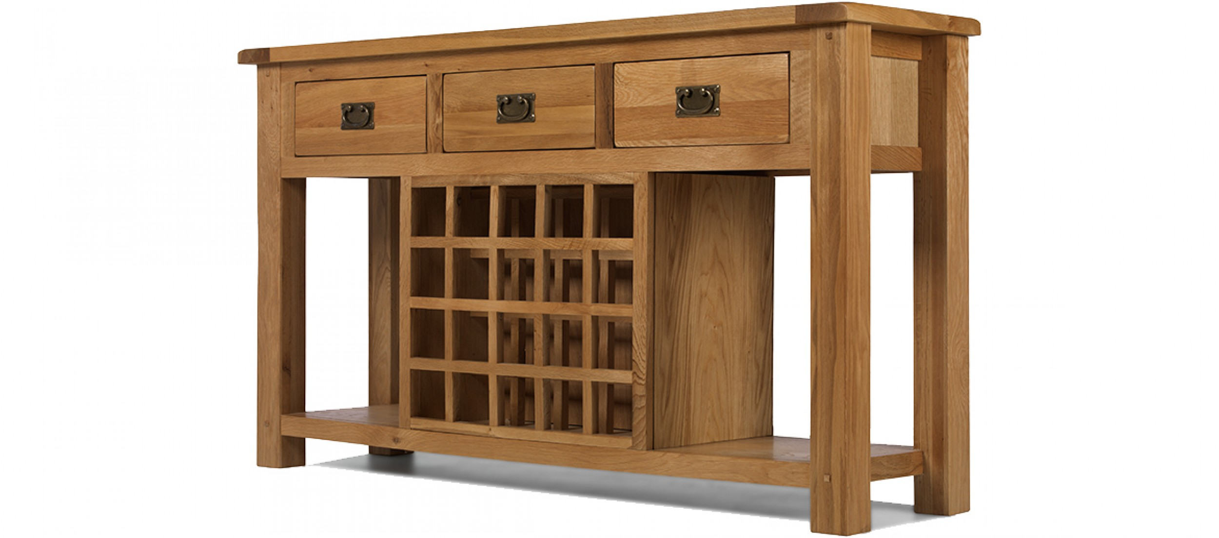 Rustic oak wine rack console table quercus living - Wine bottle storage angle ...