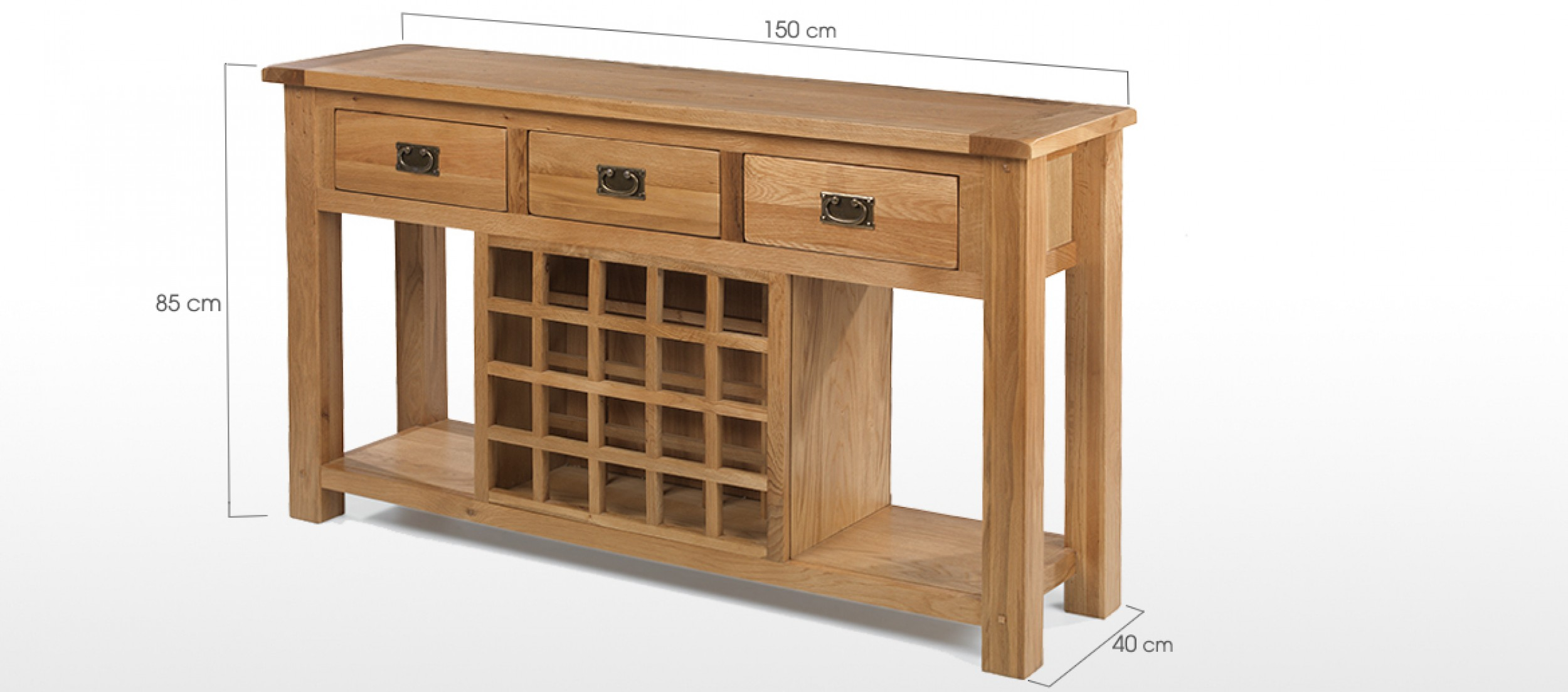 Rustic oak wine rack console table quercus living for Sideboard 95 cm