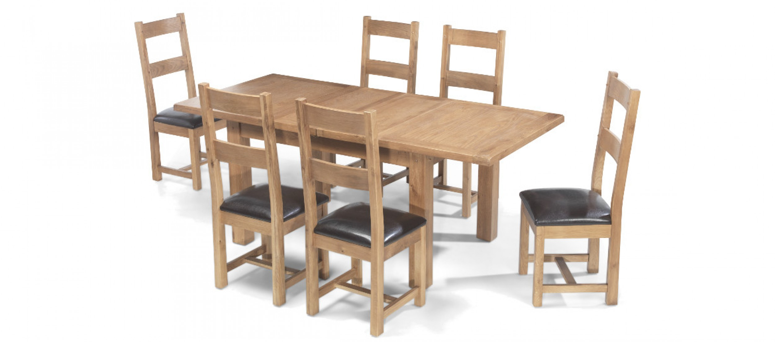 Rustic oak 132 198 cm extending dining table and 6 chairs for Dining table and 6 chairs