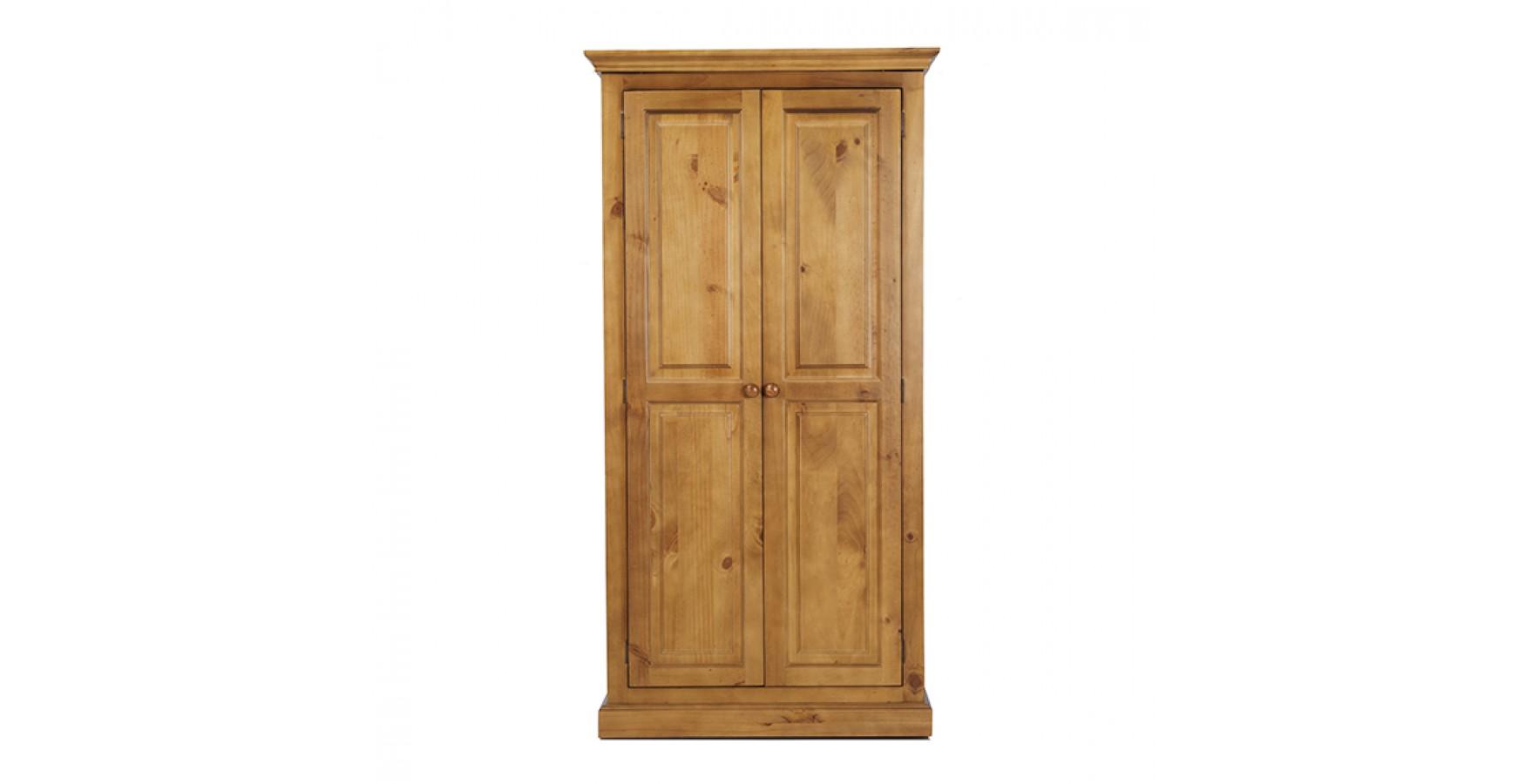 Country Pine Full Hanging Double Wardrobe Lifestyle Furniture Uk