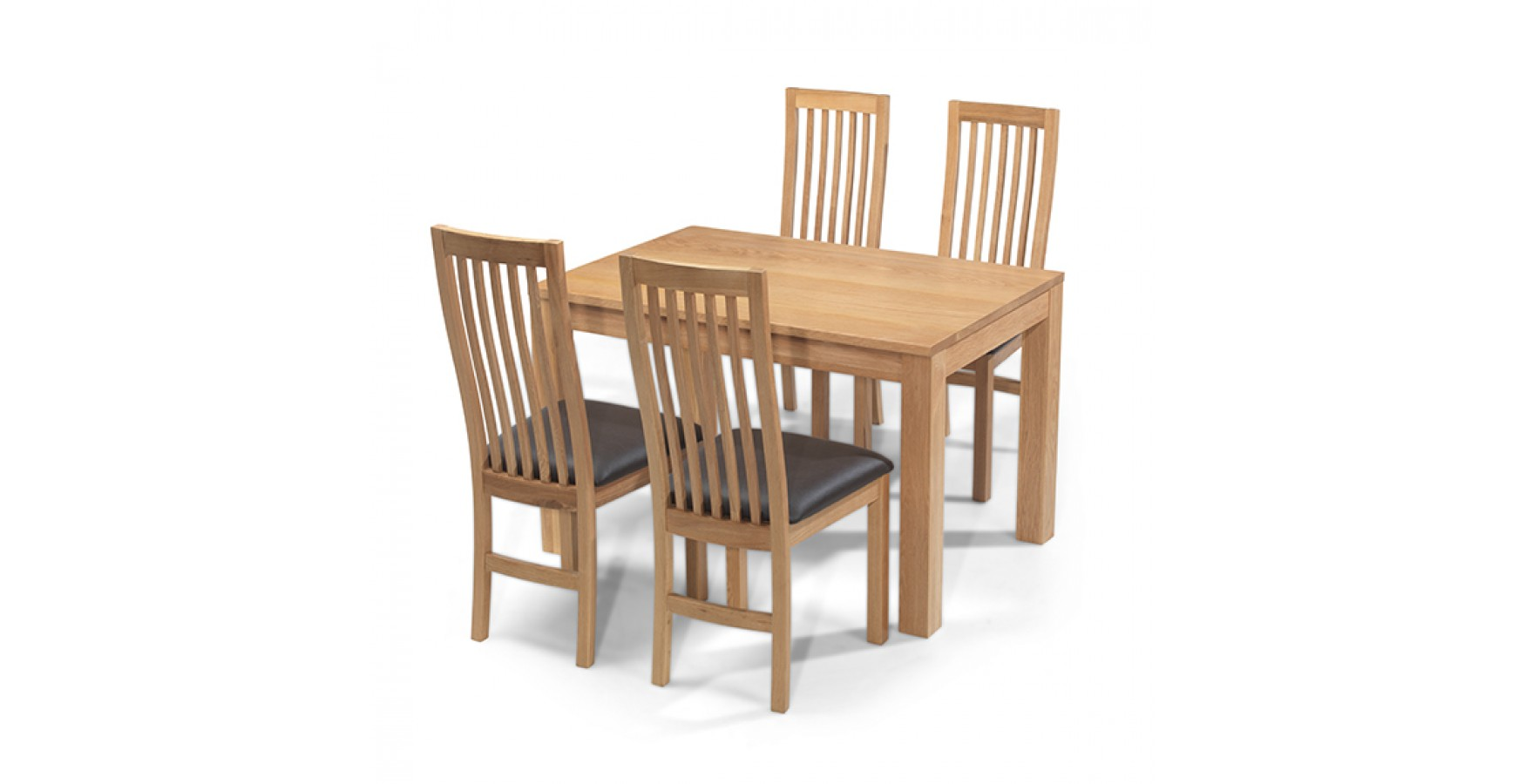 Cuba Oak 160 Cm Dining Table And 4 Chairs Lifestyle Furniture Uk