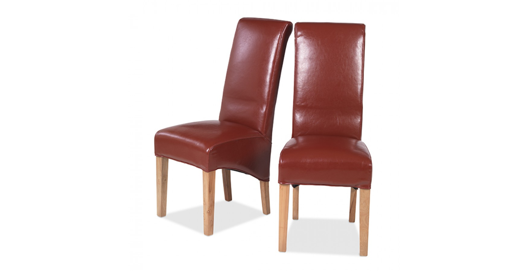 Cuba Oak Bonded Leather Dining Chairs Red Pair Lifestyle Furniture UK