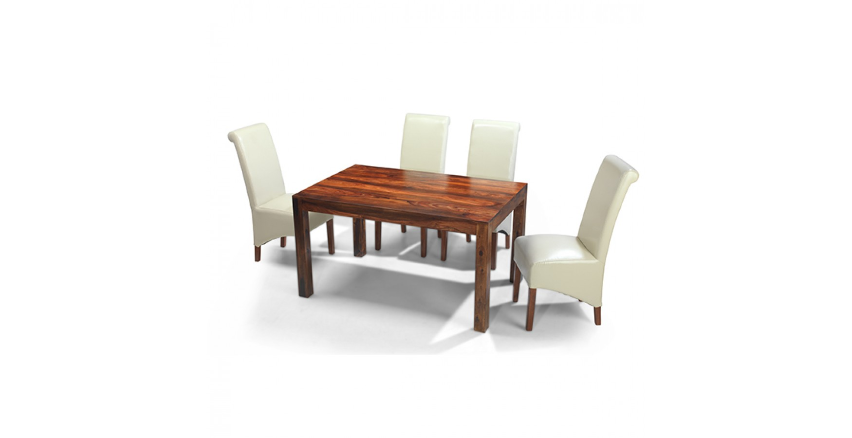 Cuba sheesham 140 cm dining table and 4 chairs lifestyle for Sheesham dining table