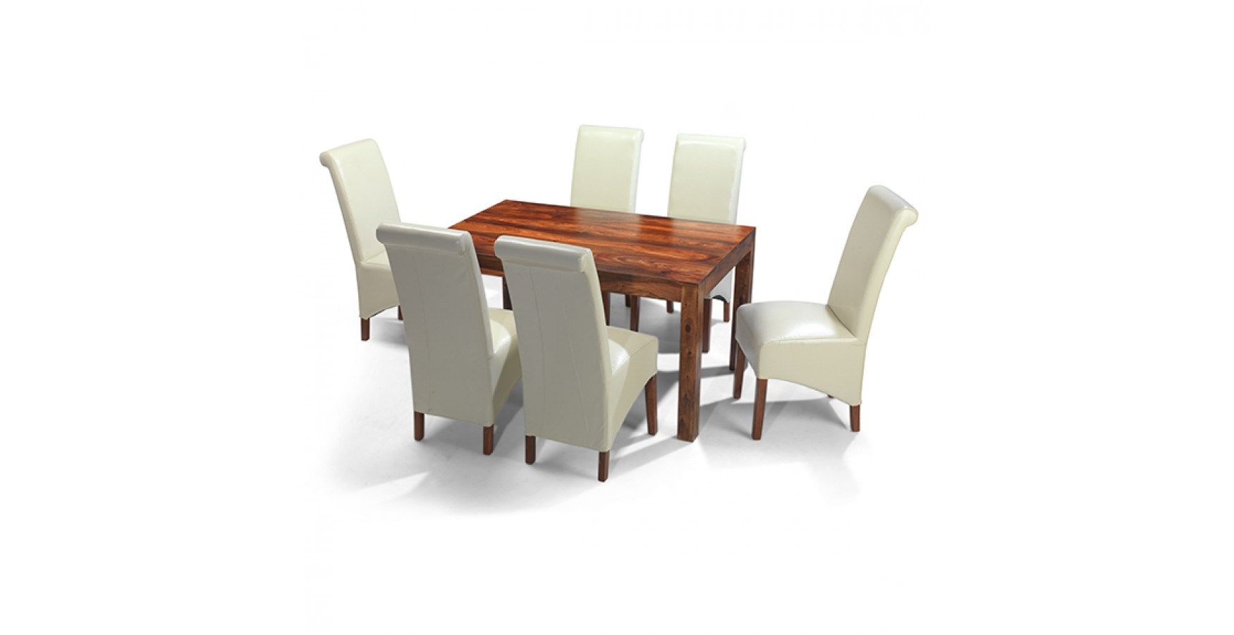 Cuba sheesham 140 cm dining table and 6 chairs lifestyle for Table and 6 chairs uk