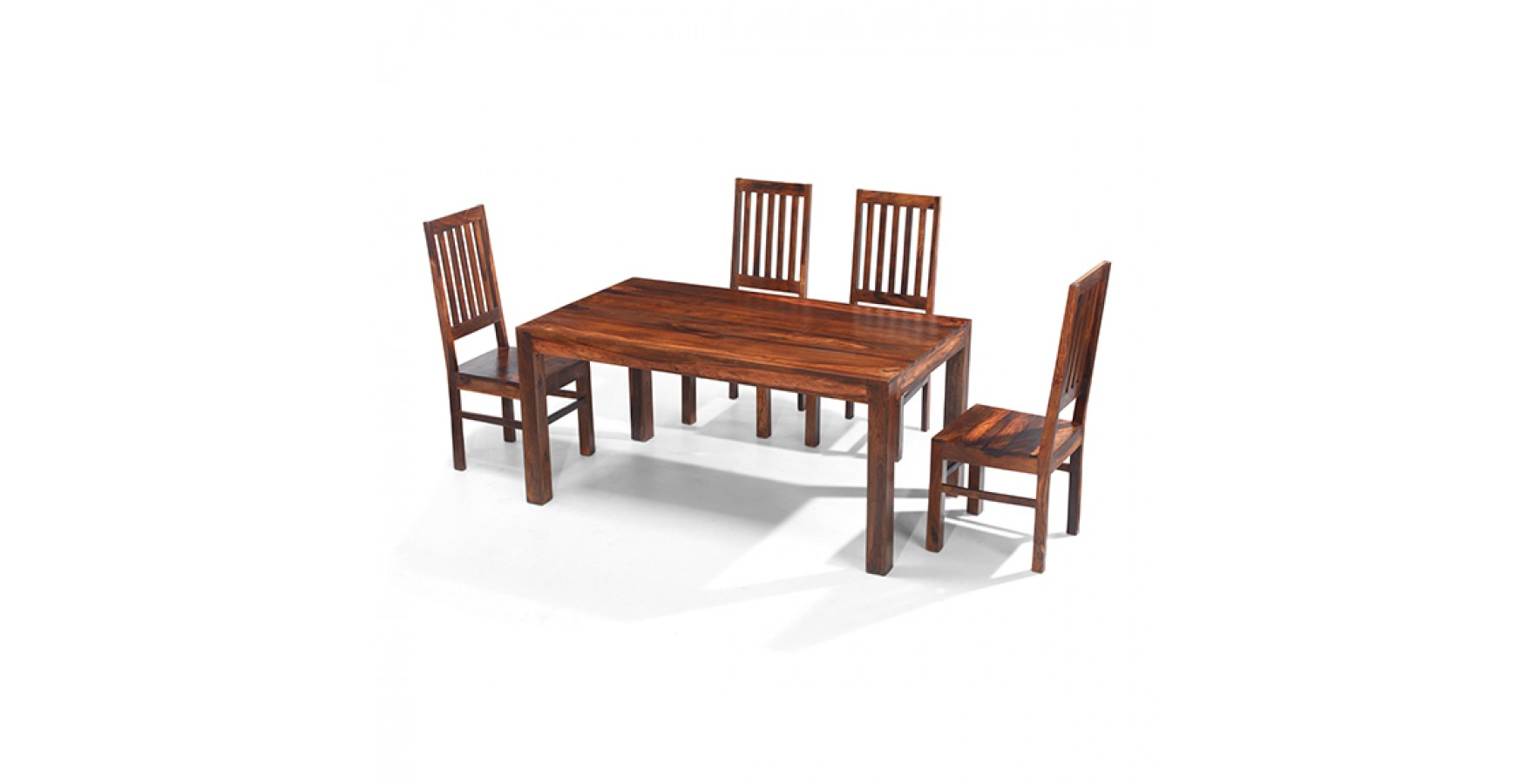 Cuba sheesham 160 cm dining table and 4 chairs lifestyle for Sheesham dining table