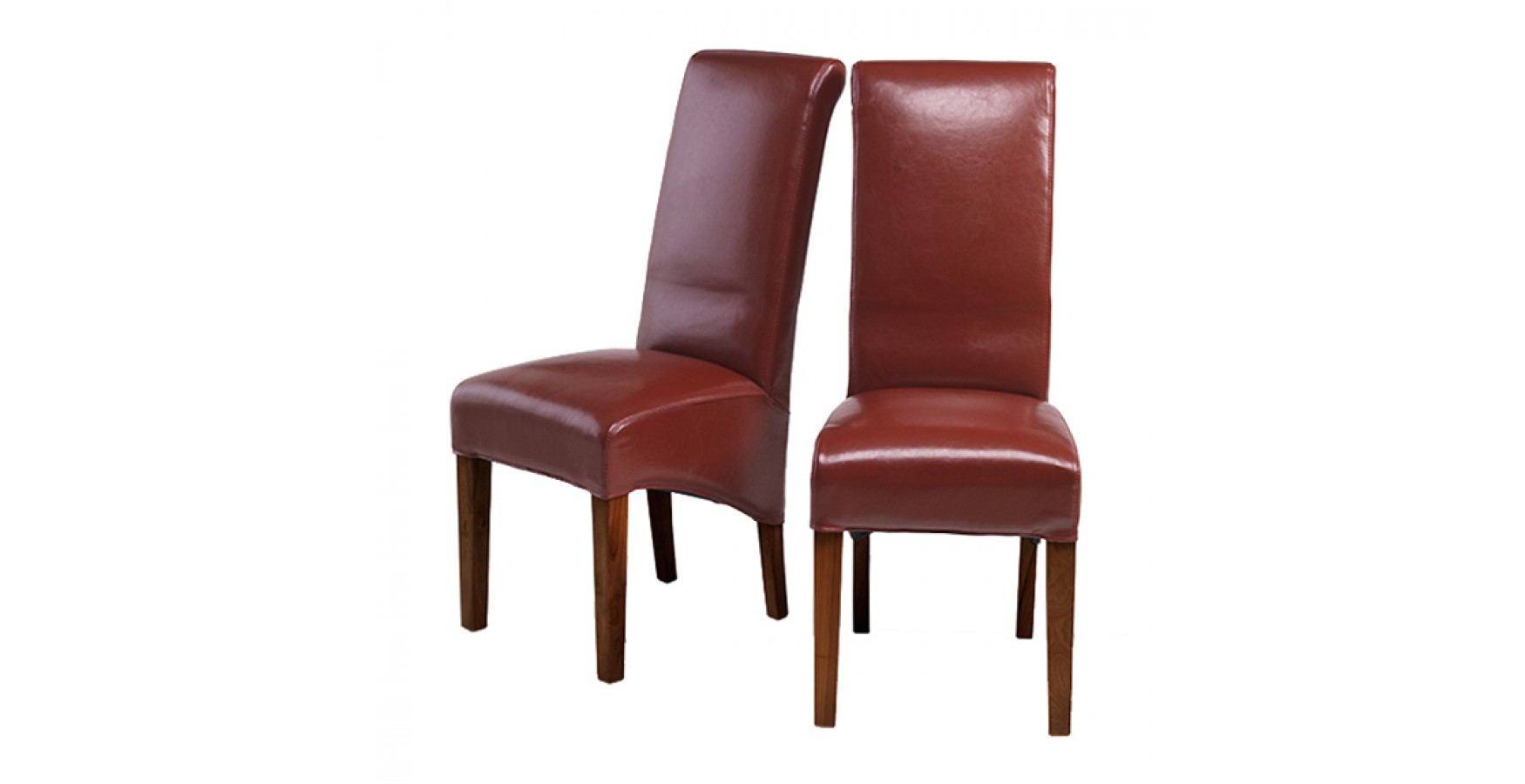 Cuba Bonded Leather Dining Chairs Red Pair Lifestyle Furniture UK