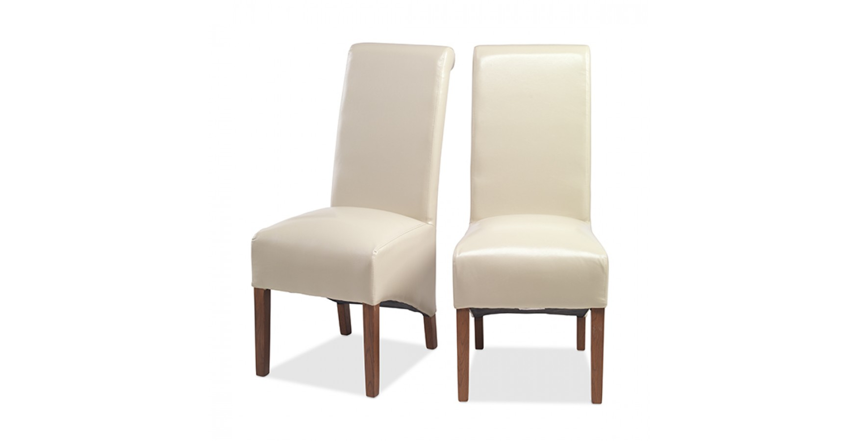 Cuba Bonded Leather Dining Chairs Beige Pair Lifestyle