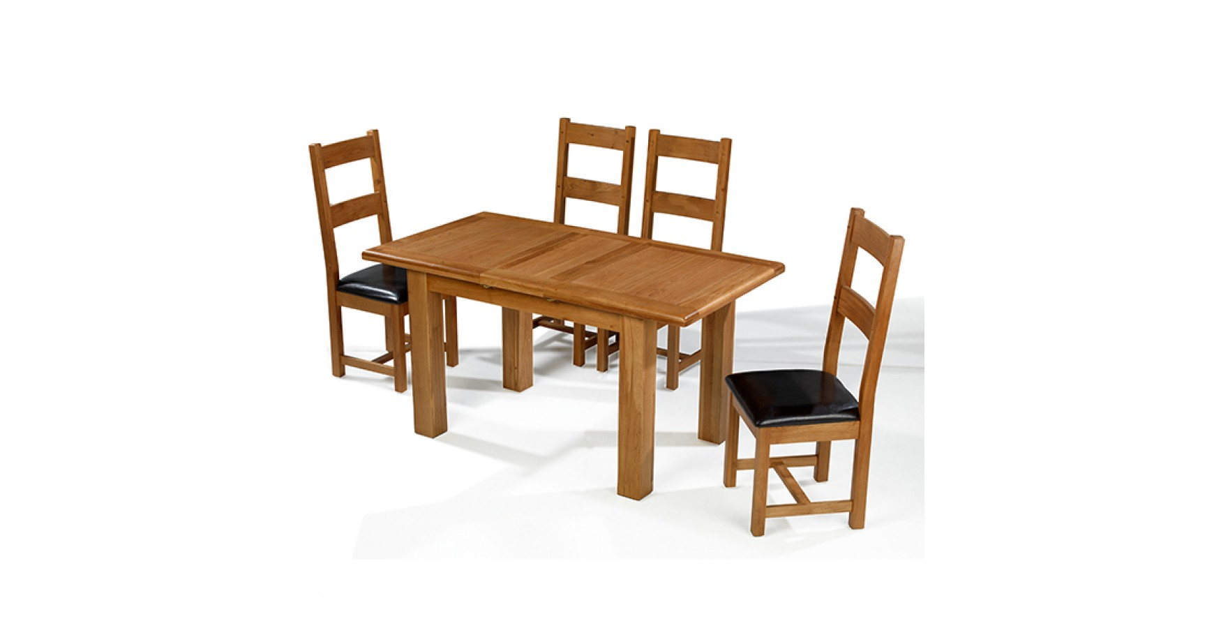 Emsworth oak 132 198 cm extending dining table and 4 for Oak extending dining table