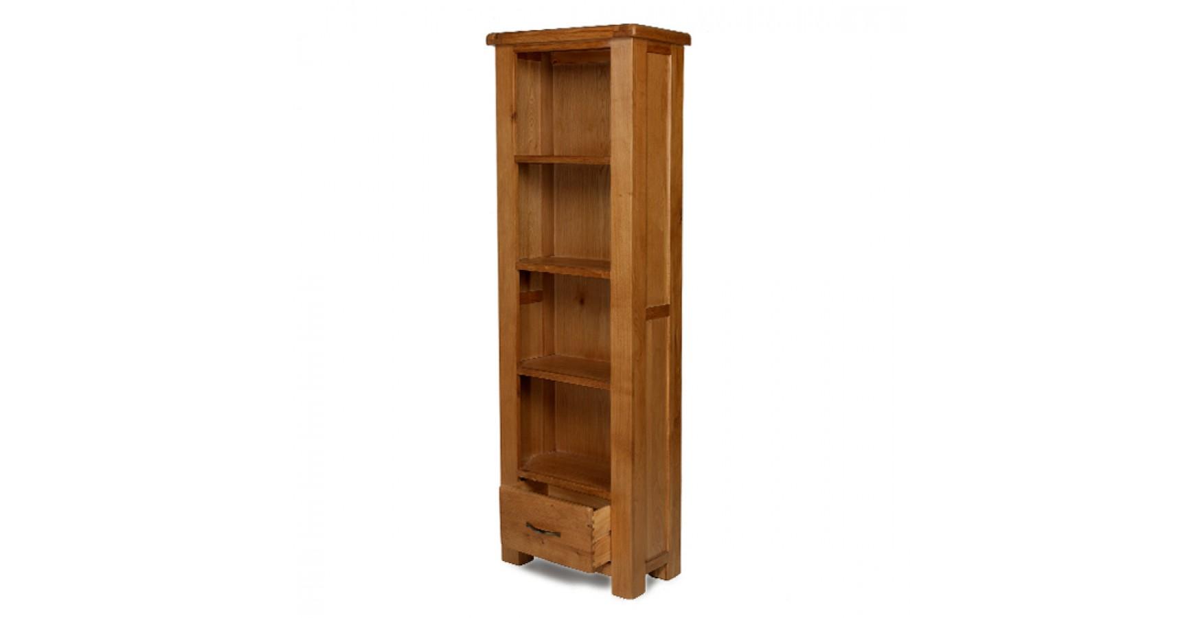 Emsworth Oak Slim Bookcase with Drawer - Lifestyle Furniture UK