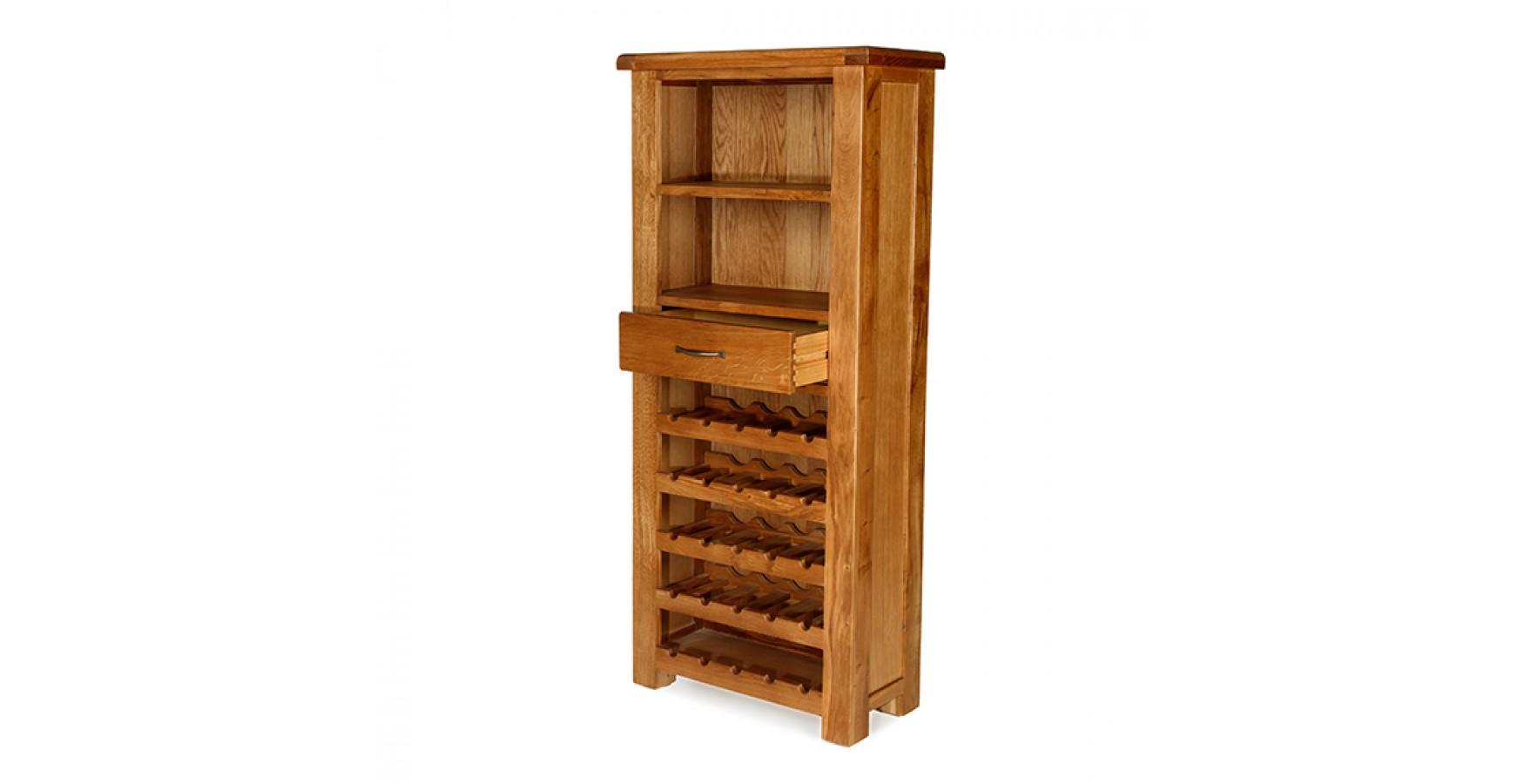 Emsworth Oak Tall Wine Rack Unit - Lifestyle Furniture UK