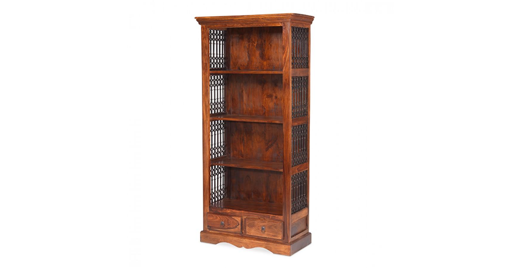 Jali Sheesham Tall Square Bookcase Lifestyle Furniture Uk