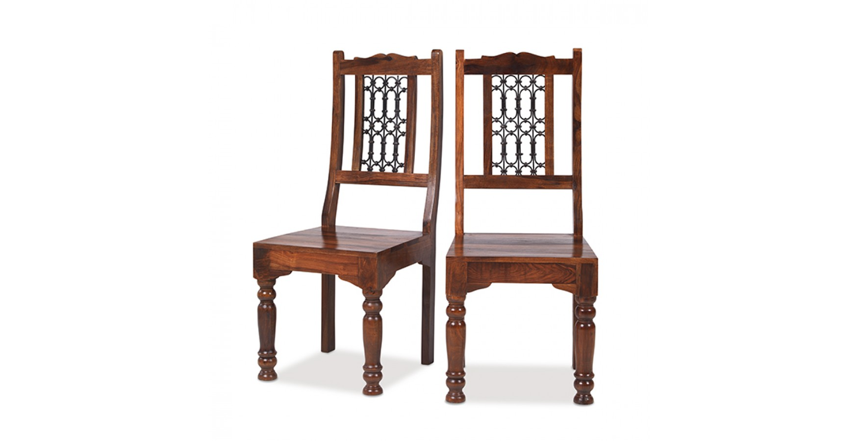 Jali Sheesham Low Back Ironwork Dining Chairs   Pair