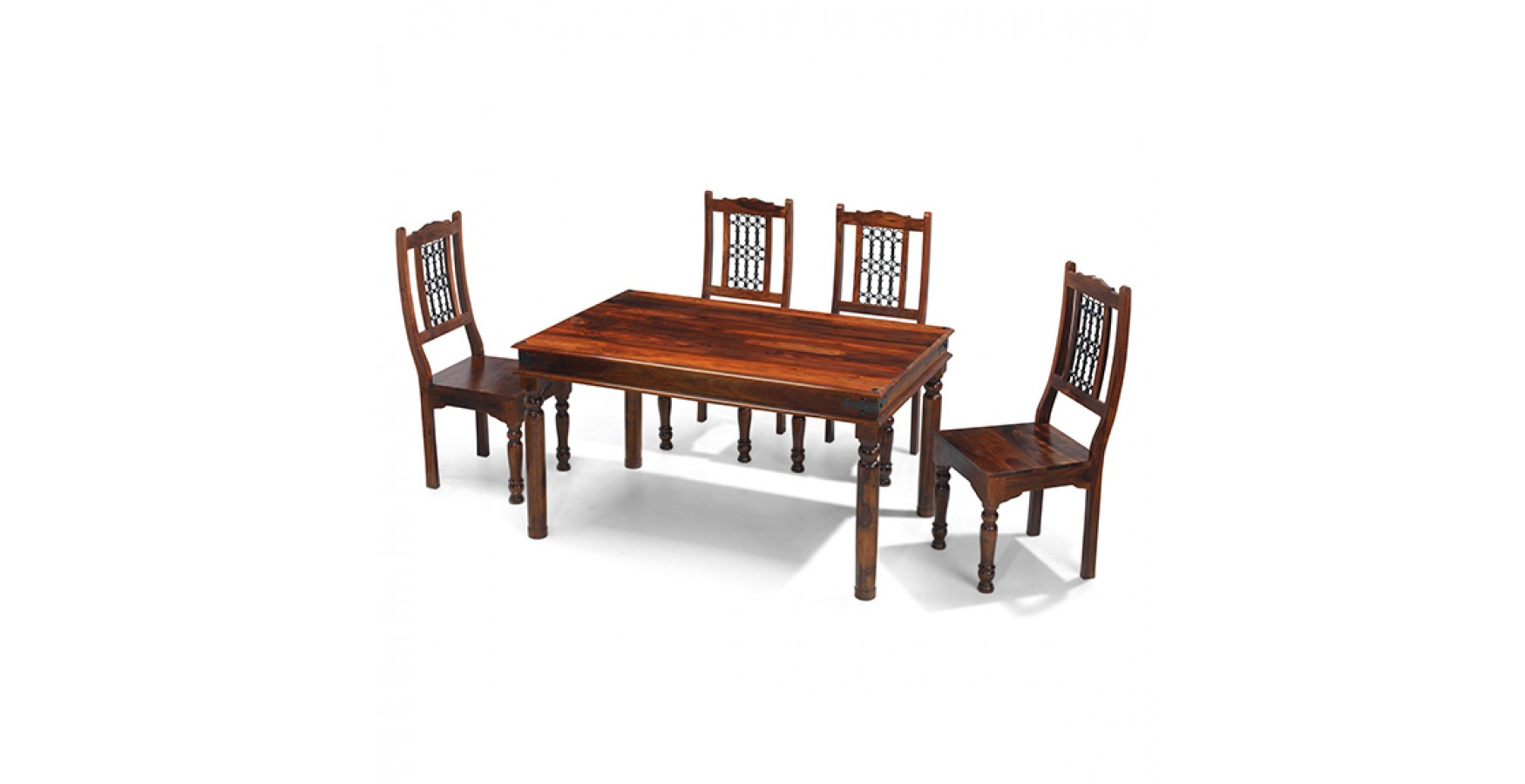 Jali sheesham 140 cm thakat dining table and 4 chairs for Sheesham dining table