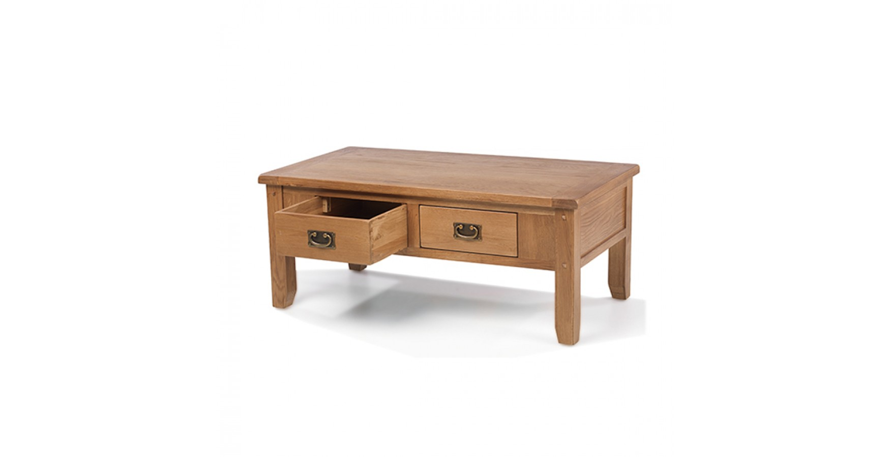 Rustic Oak 2 Drawer Coffee Table Lifestyle Furniture Uk