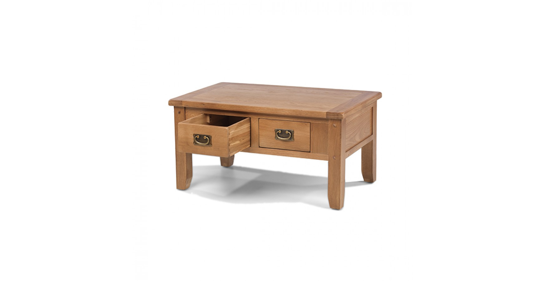 Rustic oak small 2 drawer coffee table lifestyle for Furniture uk