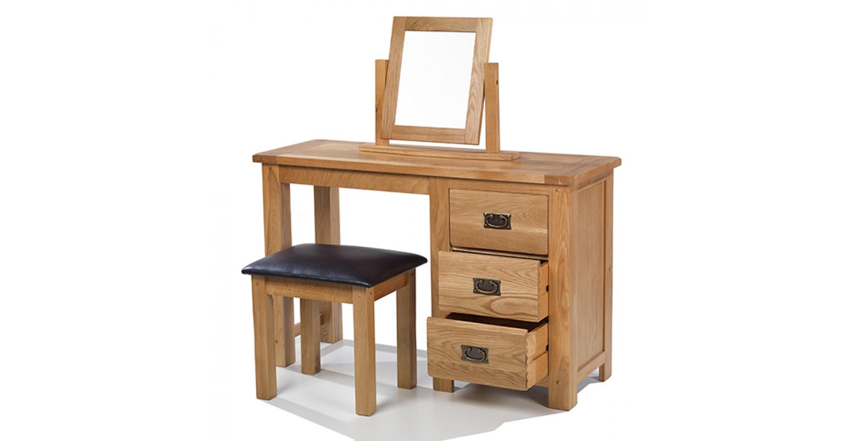Rustic Oak Dressing Table Set - Lifestyle Furniture UK