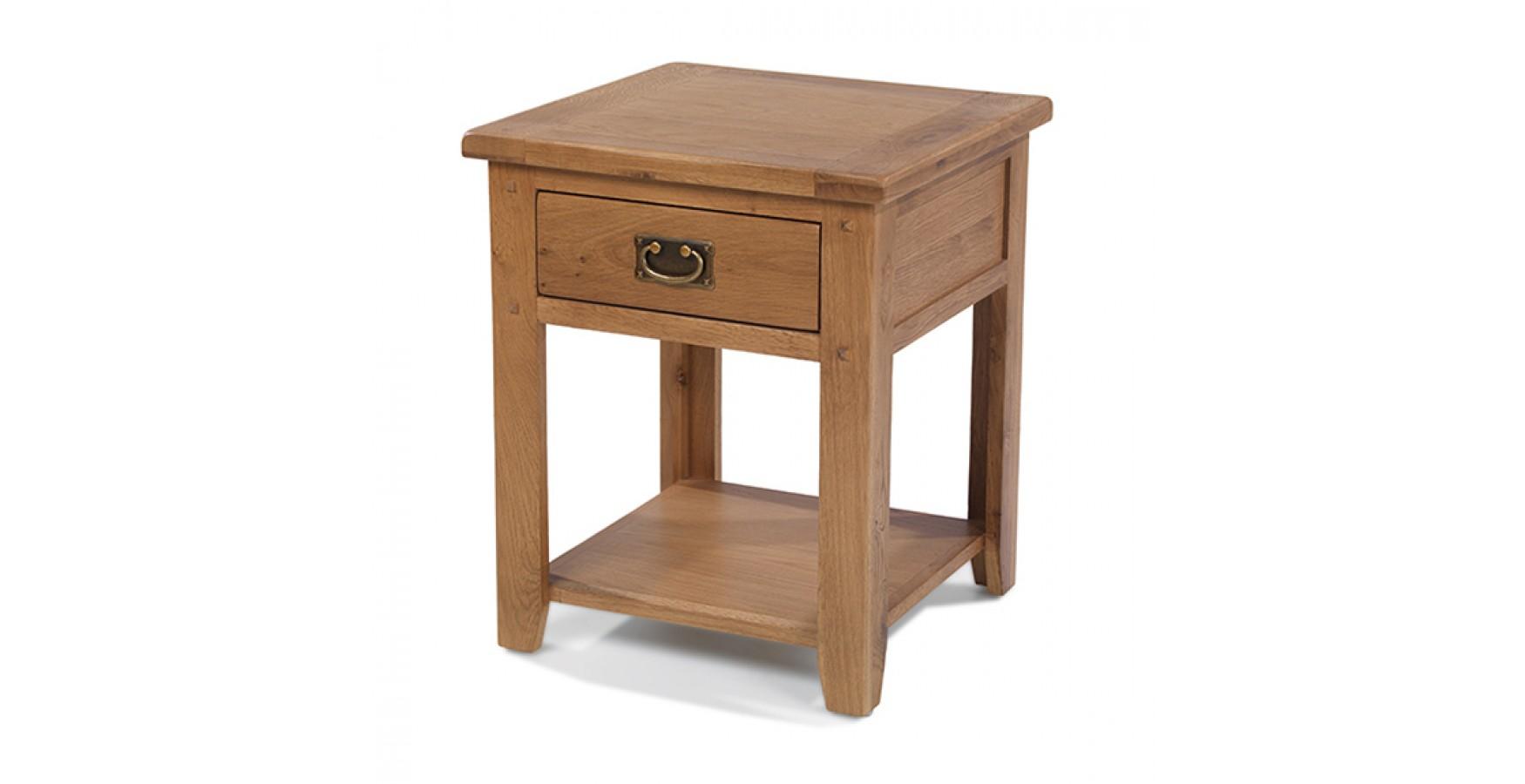 Rustic Oak Lamp Table - Lifestyle Furniture UK