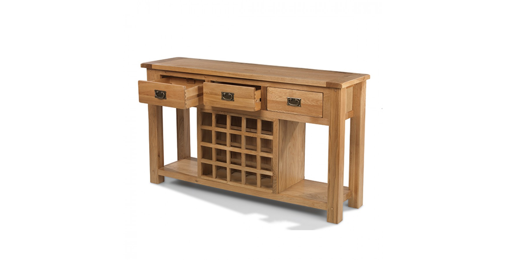 Rustic oak wine rack console table lifestyle furniture uk for Furniture uk