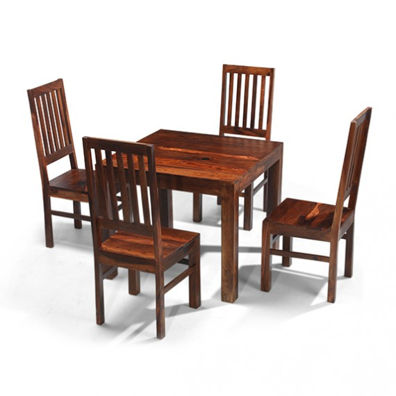 Cuba sheesham 90 cm dining table and 4 chairs lifestyle for Sheesham dining table
