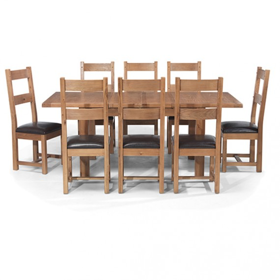 Rustic Oak Dining Table Set 8