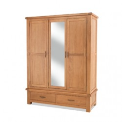 Kingham Oak Triple Wardrobe with Mirror and Drawers