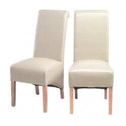 Cuba Oak Bonded Leather Dining Chairs Biege - Pair