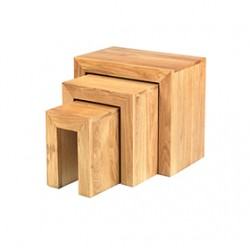 Cuba Oak Nest of 3 Tables