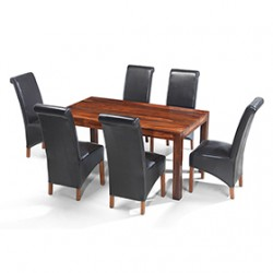 Cuba Sheesham 160 cm Dining Table and 6 Chairs
