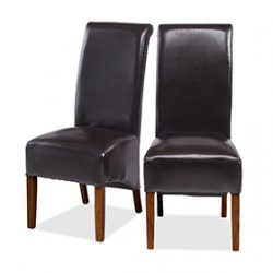 Cuba Dark Leg Bonded Leather Dining Chairs Brown - Pair