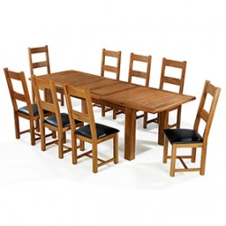 Emsworth Oak 180-250 cm Extending Dining Table and 8 Chairs