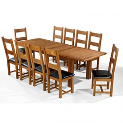 Emsworth Oak 180-250 cm Extending Dining Table and 10 Chairs