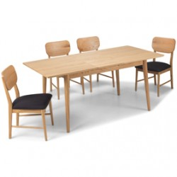 Skioa Oak Extended Dining Table with 4 Chairs