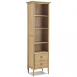 Skioa Oak Slim Bookcase With Drawer