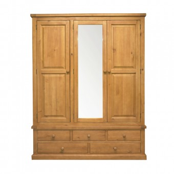 Chunky Pine Triple Wardrobe with Mirror