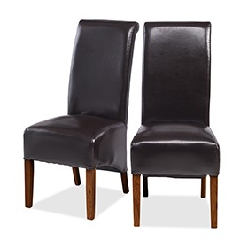 Cuba Sheesham Bonded Leather Dining Chairs Brown - Pair