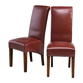 Cuba Sheesham Bonded Leather Dining Chairs Red - Pair