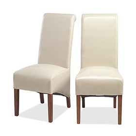 Cuba Sheesham Bonded Leather Dining Chairs Beige - Pair