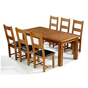 Emsworth Oak 180-250 cm Extending Dining Table and 6 Chairs