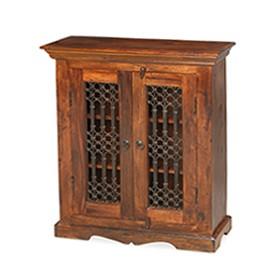 Jali Sheesham Ironwork Cabinet