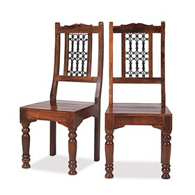 Jali Sheesham Low Back Ironwork Dining Chairs - Pair