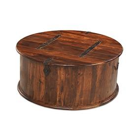 Jali Sheesham Round Coffee Trunk Box