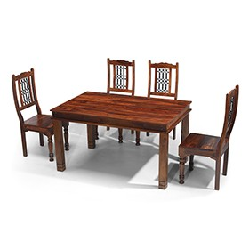 Jali Sheesham 140 cm Chunky Dining Table and 4 Chairs