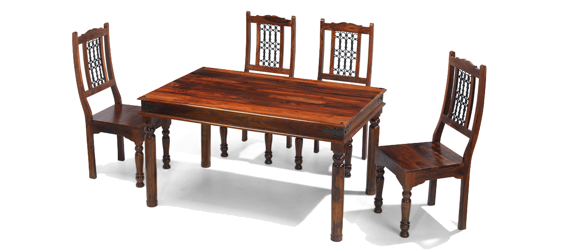 Jali Sheesham 120 Cm Thakat Dining Table And 4 Chairs Quercus Living