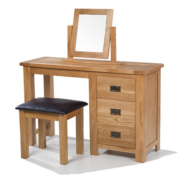 Rustic Oak Dressing Table Set Lifestyle Furniture UK - Rustic oak dressing table