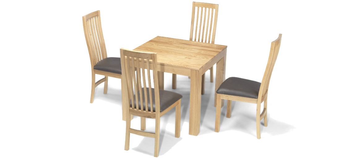 cube solid oak 90 cm dining table and 4 chairs quercus