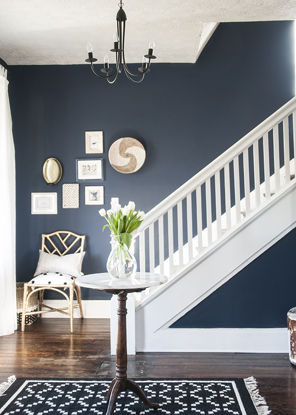 navy entryway walls