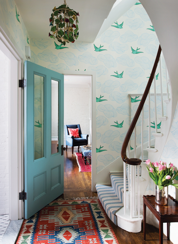wallpapered hallway