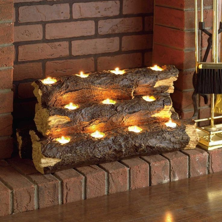 logs as tea light holders